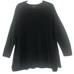 Eileen Fisher 100% Merino Wool Solid Black Sweater